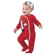 Adorable Disney Girls Minnie Mouse 'My First Christmas' Footie #BRUChristmas