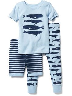Whale-Graphic 3-Piece Sleep Set for Baby