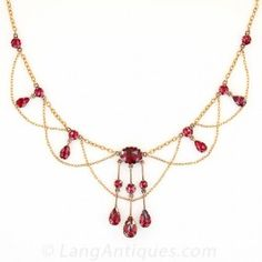 Antique French Garnet Swag Necklace - Everything - Vintage Jewelry