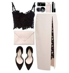Midrib black lacey spaghetti blouse with black lace underneth the white slit high waisted skirt