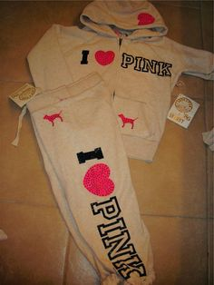 White colored sweat suit by pink at Victoria's Secret!
