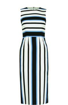 52aa95597590 Женское синее приталенное платье без рукавов в полоску DOLCE   GABBANA —  купить за 59950 руб