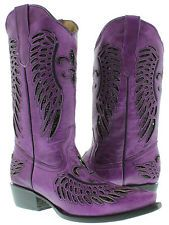 Women's ladies purple leather sequins cowboy boots western riding biker rodeo