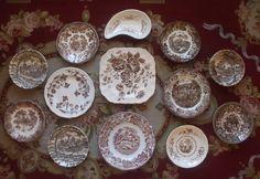 English Transferware Vintage Brown Toile Plates