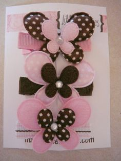 Items similar to LittleLoulees hairbow boutique felt brown and pink butterfly trio on Etsy