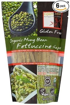 Exas Fettuccine, Mung Bean, 7.05-Ounce (Pack of 6) - Carb free and protein packed, these are DELICIOUS!  Boil noodles, then blanch some asparagus, edamame and green peas in the same water.  Add pesto and Parmigiano-Reggiano.  So good and the kids loved it too.