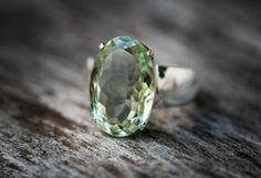 Green Quartz Ring - Prasiolite Ring - Green Amethyst Ring - Green Quartz Ring Size 9 - Oval Cut Ring - Oval Green Amethyst Ring - Praisiolit by NaturalRockShop on Etsy https://www.etsy.com/listing/243460331/green-quartz-ring-prasiolite-ring-green