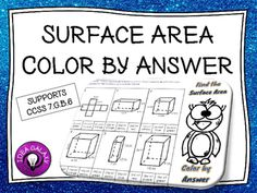 Surface Area Color by Answer is an engaging activity to reinforce how to find the surface area of triangular and rectangular prisms and pyramid.Supports CCSS 7.G.B.6