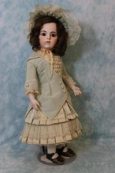 20 Inch Antique Bru Jne French Bisque Doll Glass Paperweight eyes Perfect c.1884