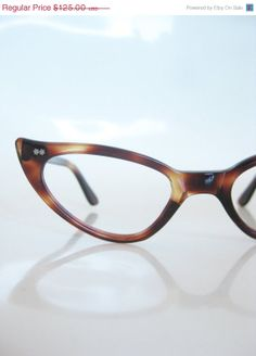 e5c2f691b2e2d Vintage French Cat Eye Glasses 1960s Eyeglasses Ladies Womens Sixties Dark  Brown Chocolate Tortoiseshell 60s Retro