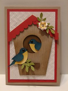 Bird, Circle Scallop Border and other punches were used on this great bird house card! Making Greeting Cards, Greeting Cards Handmade, Cricut Cards, Stampin Up Cards, Pretty Cards, Cute Cards, New Home Cards, Punch Art Cards, Bird Cards
