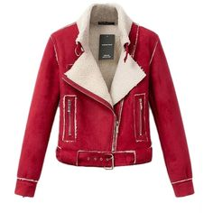 Red Womens Lambs Wool Suede Diagonal Zipper Motorcycle Jacket (650 ZAR) ❤ liked on Polyvore