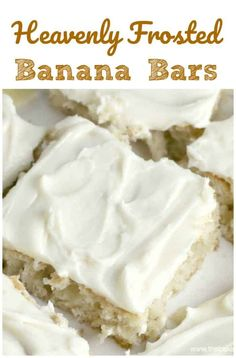 Heavenly Frosted Banana Bars have just the right amount of ingredients, which makes it so hard to resist all those wonderful mellow tones of banana, vanilla Greek yogurt, vanilla and cream cheese frosting....awe yum! #banana #bars
