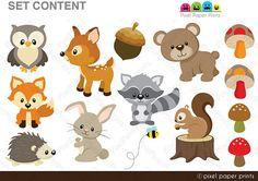 Animales del bosque Set de Clip Art y Papeles por pixelpaperprints