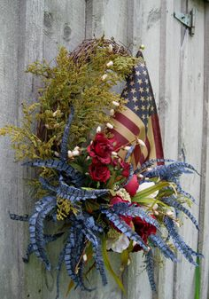 patriotic wreath Patriotic Crafts, Patriotic Wreath, Seasonal Decor, Holiday Decor, Tea Stains, Holiday Wreaths, Fourth Of July, Memorial Day, Flags