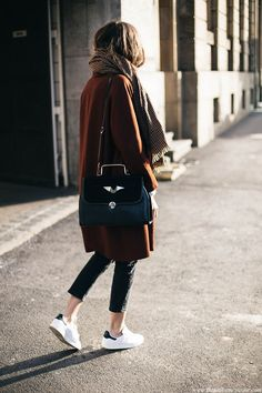 Women's fashion - Girl's got style. Fall style. Love this warm autumn look. Shade of brown and sneakers. Perfection.