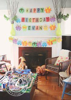 Inspiration from what looks like a reasonably low-key preschool dino party...  Dinosaur Birthday Party