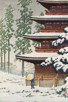 Pagoda of Saisho-in Temple in Snow at Hirosaki 1930's  Kawase Hasui (Japanese, 1883-1957)