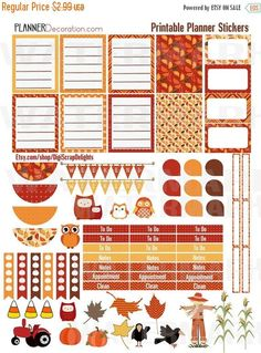#Printable Planner Stickers in beautiful Autumn red, gold and orange. This printable planner stickers boxes fit EC planner, but can be used in any #planneraddict