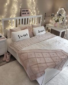 White and blush pink bedroom