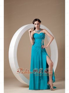 Top Selling Teal Prom Dress Column Sweetheart Chiffon- $114.49  http://www.fashionos.com  http://www.facebook.com/prom.fashionos.us    Simply gorgeous! This teal prom dress is your perfect choice for you to attend any occasion. The ruched bodice is accented with lovely beadwork and the fitted waist will flatter most figures. The floor length skirt with a sassy slit in the rightside is so smooth and elegant that extends into a lovely brush train in the back.