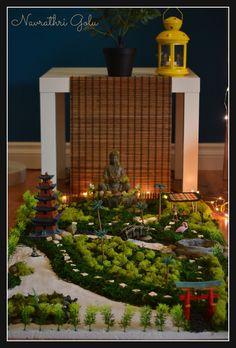 photo Diy Golu Dolls, Hobbies And Crafts, Diy And Crafts, Miniature Zen Garden, Janmashtami Decoration, Ganpati Decoration At Home, Ethnic Home Decor, Temple Design, Buddha Zen
