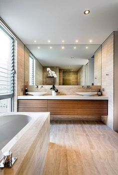 If you have a small bathroom in your home, don't be confuse to change to make it look larger. Not only small bathroom, but also the largest bathrooms have their problems and design flaws. Best Bathroom Designs, Modern Bathroom Design, Bathroom Interior Design, Modern House Design, Decor Interior Design, Decoration Design, Zen Bathroom, Small Bathroom, Master Bathroom