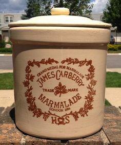 Huge Gallon Sized Vintage English Brown Transferware Marmalade Crock Jam Jar Transferware Advertising James Carberry