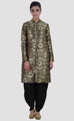 Black-Gold Banarasi Zari Weave Silk-Cotton Jacket Suit