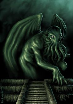 An image of Cthulhu emerging from the deeps, by Paul Mudie.