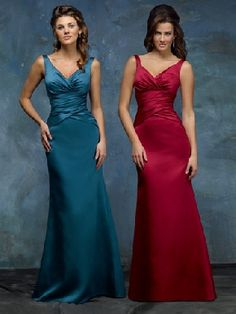 Spaghetti Straps V-neck Sleeveless Teal/Burgundy Satin Pleated Floor Length Zipper Up A-line Bridesmaid Dress BD78694/Wedding Party