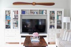 Ikea Hemnes white entertainment center (Emily Ley's home tour picture) Hemnes, Entertainment Center, Home Living Room, Living Room Decor, Layout Design, White Floor Lamp, Kate Spade, Floating, Home Decor Inspiration