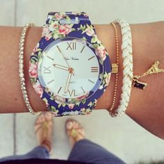 Blue Floral bracelet watch,womans watch green leaf design watch,wrist watch,garden beauty wrist watch,white watch,designer watch,armbanduhr