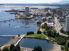 Nanaimo, BC. On Vancouver island, has direct ferry service to Vancouver.