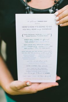 Wedding Program idea // see more: http://theeverylastdetail.com/8-wedding-ceremony-program-ideas/