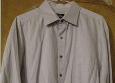Alfani Men's Long Sleeve 100% Cotton Dress Shirt Size 17 (34-35) Light Tan  #Alfani #ButtonFront
