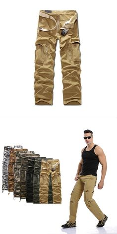 YUNY Men Loose Solid Casual Outdoor Multi-Pockets Oversized Cargo Pant 2 29