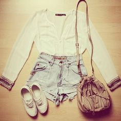 accent: cutoffs #spring #casual #outfits