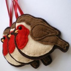 Three Felt Robin Decorations £16.50