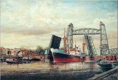 Werk van Henk v.d..Veerms Amor van de K.N.S.M. onder de hefbrug en koningsbrug Rotterdam.