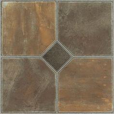 """Peel-n-stick"" tiles for kitchen floor & backsplash...Achim Importing Co Nexus 12'' x 12'' Vinyl Tile in Rustic Slate"