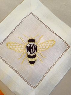 Monogrammed Linen Coasters (Set of 6), Bumble Bee