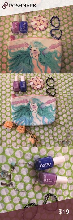 🔱lavender blue mermaid beauty bundle It comes with a cosmetic ipsy bag, 2 choker bracelets, a flower crown, two Essie nail colors, a cosmetic mirror, and an anchor/ strength bracelet. ipsy, Essie, topshop, belks, birchbox Accessories Hair Accessories