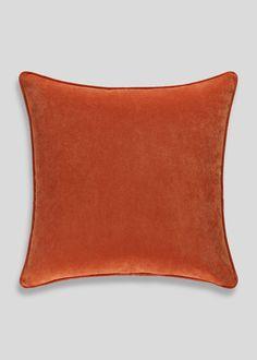 Large Velour Cushion (58cm x 58cm) – Orange – Matalan