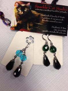 Elegant Tear Drop Earrings by SparkleCatStudio, $12.00  25% of proceeds donated to animal rescues: The Humane Society of Alamance County OR The Biscuit Foundation.  We are animal lovers, volunteers, and a foster mom and dad! Find us on Facebook!