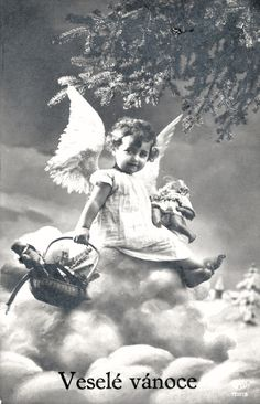 European Countries, Vintage Christmas Cards, Postcards, Czech Recipes, History, Czech Republic, Painting, Angel, Historia