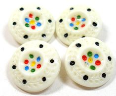 20s Confetti glass buttons, 4 white Czech multi colored polka dots, 18 mm buttons.