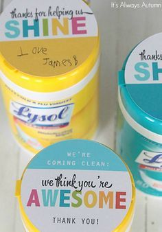 """We're Coming Clean"" Sanitizing Wipes Teacher Appreciation Gift. Take a look at all these ways to show your teacher you are thankful with these FREE Teacher Appreciation Printables plus more teacher appreciation Ideas on Frugal Coupon Living.."