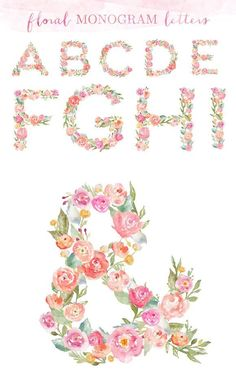 Monogram Floral Alphabet Letters by Angie Makes on @creativemarket