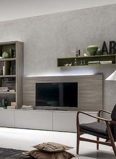 Ultramodern, minimalist 'Hugh' TV Unit by Santa Lucia Living Room Units, Living Room Wall Designs, Home Living Room, Tv Furniture, Furniture Design, Cabinet Furniture, Long Tv Unit, Modern Tv Units, Tv Unit Design